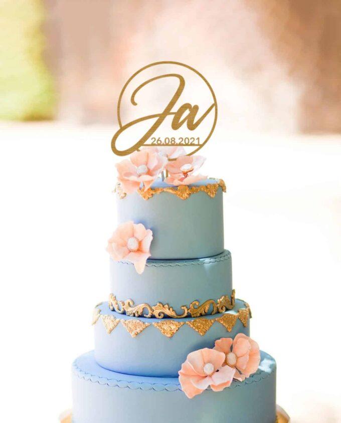 Cake Topper Ja mit Datum
