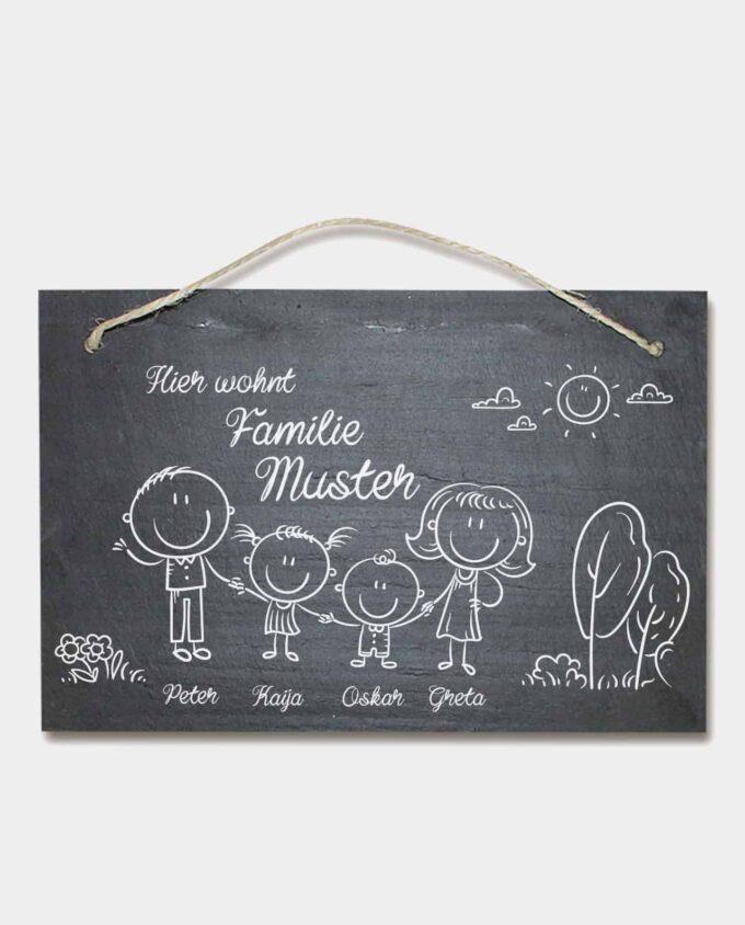 Schiefertafel Familie graviert